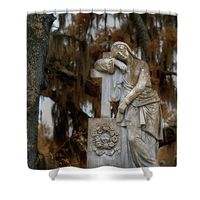 Cemetary Shower Curtain featuring the photograph Lady In Bonaventure Cemetary by Jon Glaser