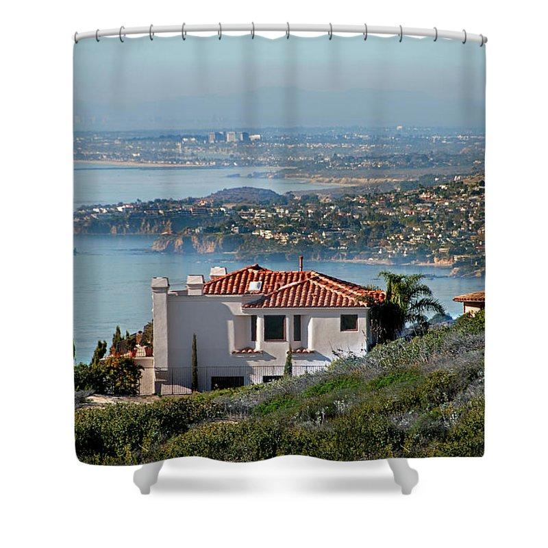 Laguna Beach Shower Curtain featuring the photograph Laguna Beach Hilltop Homes by Mitch Diamond