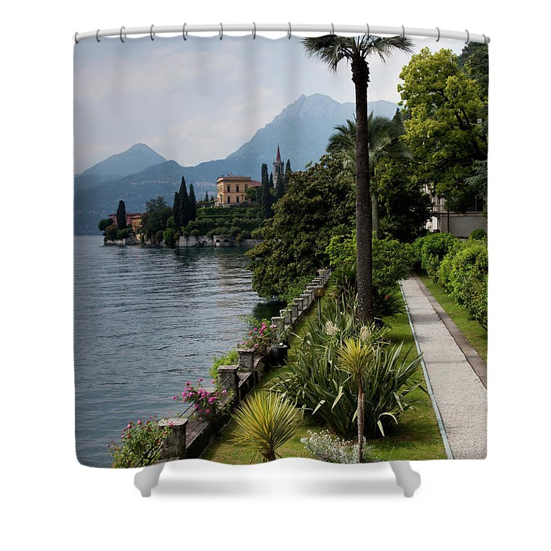 Scenics Shower Curtain featuring the photograph Lake Como, Varenna by Walter Bibikow
