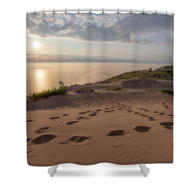 Sleeping Shower Curtain featuring the photograph Lake Michigan Overlook 10 by Heather Kenward