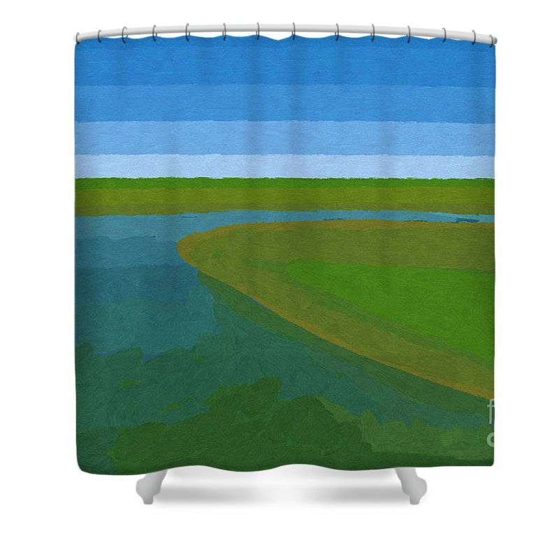 Pflugerville Shower Curtain featuring the painting Lake Pflugerville Abstract Landscape by D Tao