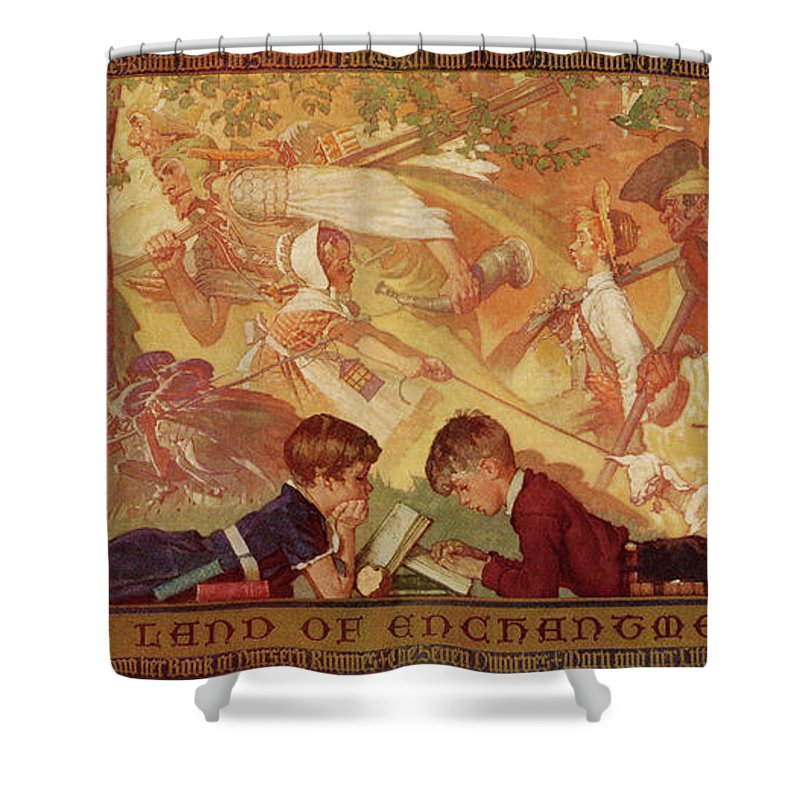 Books Shower Curtain featuring the drawing Land Of Enchantment by Norman Rockwell