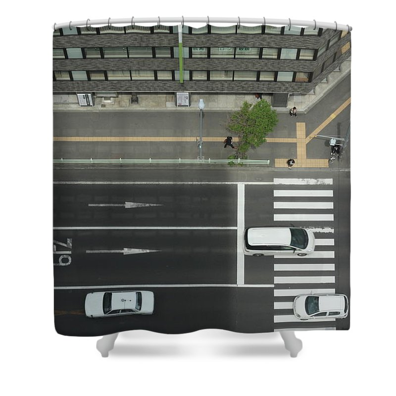 Hokkaido Shower Curtain featuring the photograph Land Vehicles Crossing Pedestrian by Iyoupapa