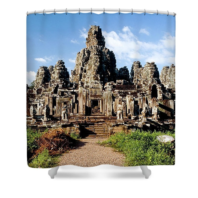 Scenics Shower Curtain featuring the photograph Landscape Photo Of Bayon Temple In by Laughingmango