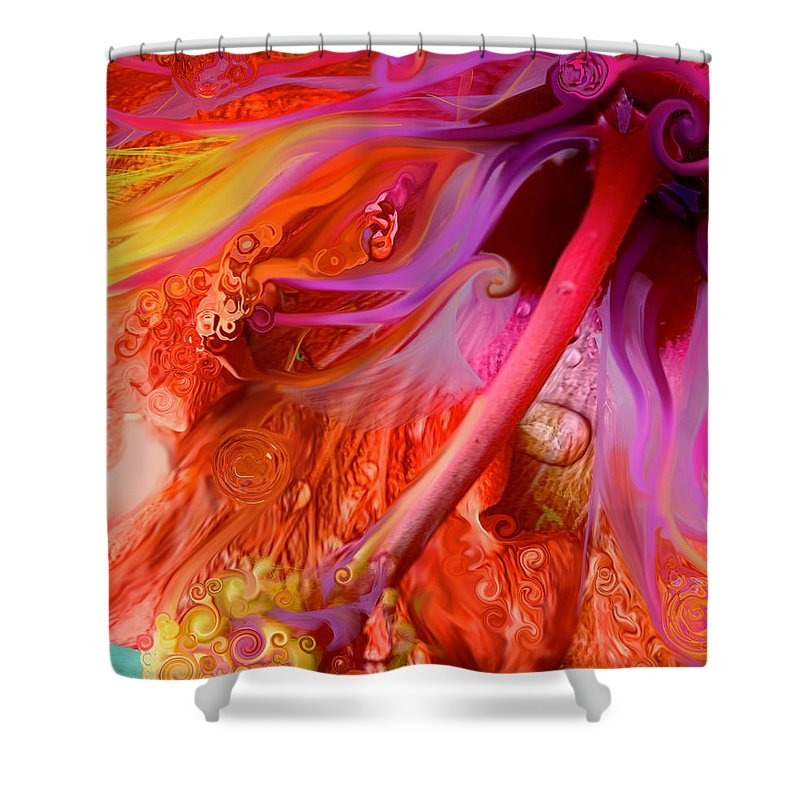 Abstract Flower Shower Curtain featuring the digital art Laughing Hibiscus by Cindy Greenstein