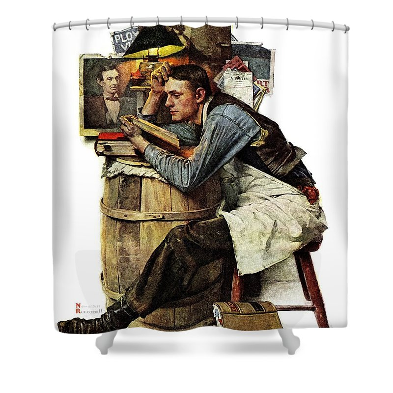 Books Shower Curtain featuring the drawing Law Student by Norman Rockwell