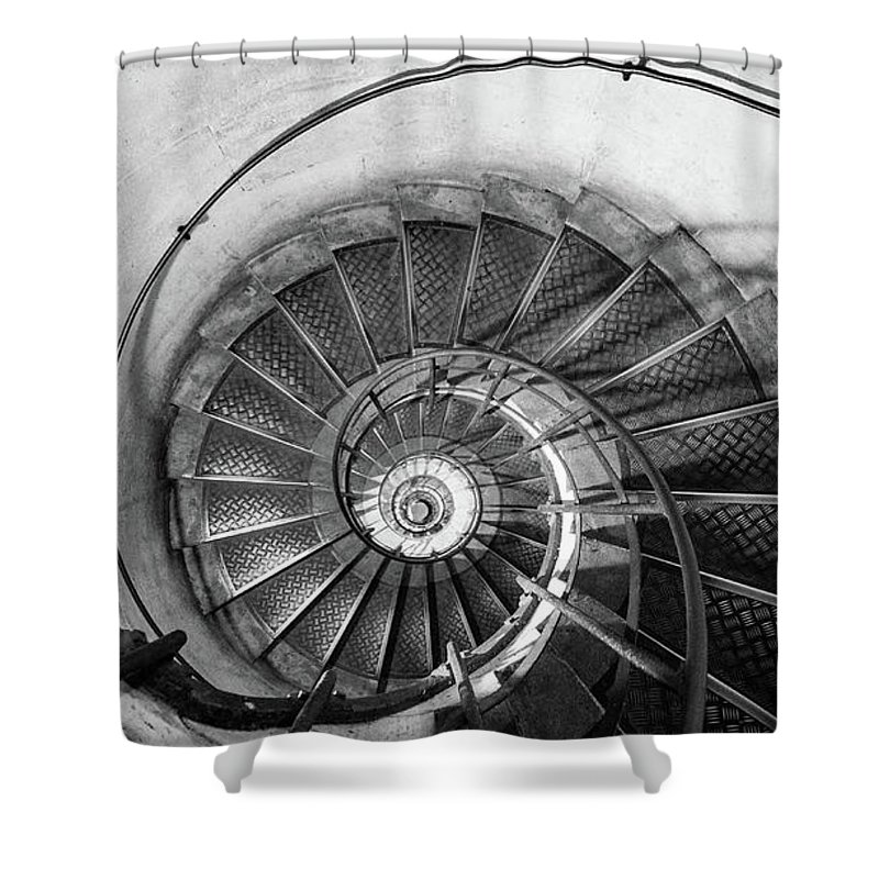 Napoleonic Shower Curtain featuring the photograph Lblack And White View Of Spiral Stairs Inside The Arch De Triump by PorqueNo Studios
