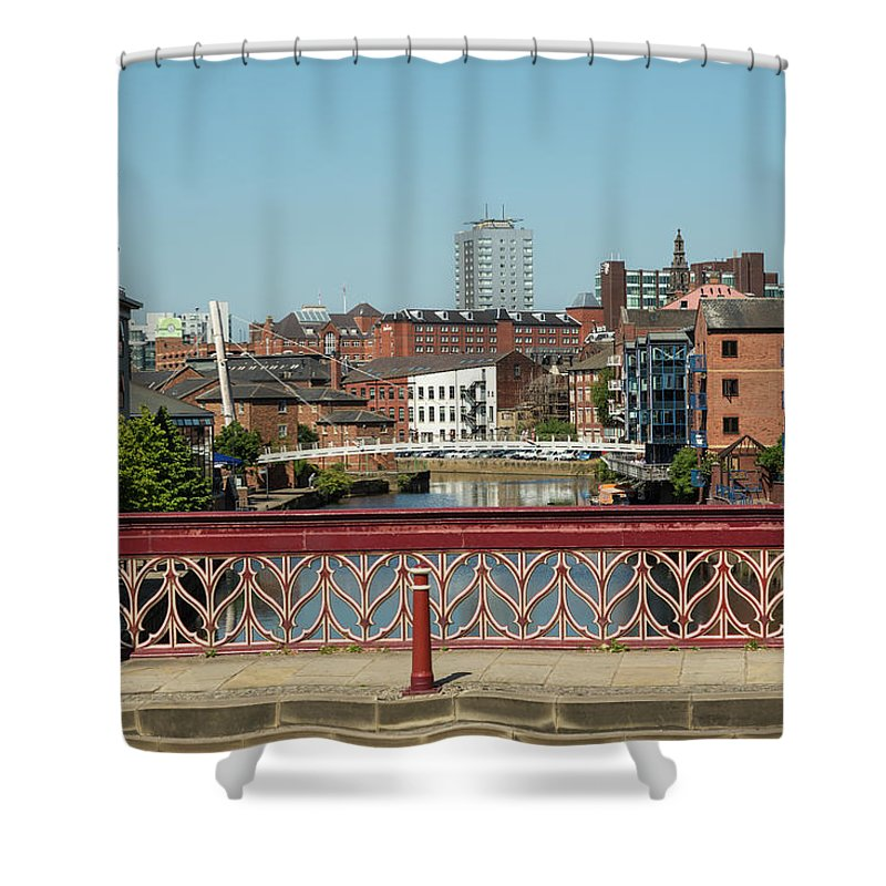 English Culture Shower Curtain featuring the photograph Leeds Waterfront Developments by P A Thompson