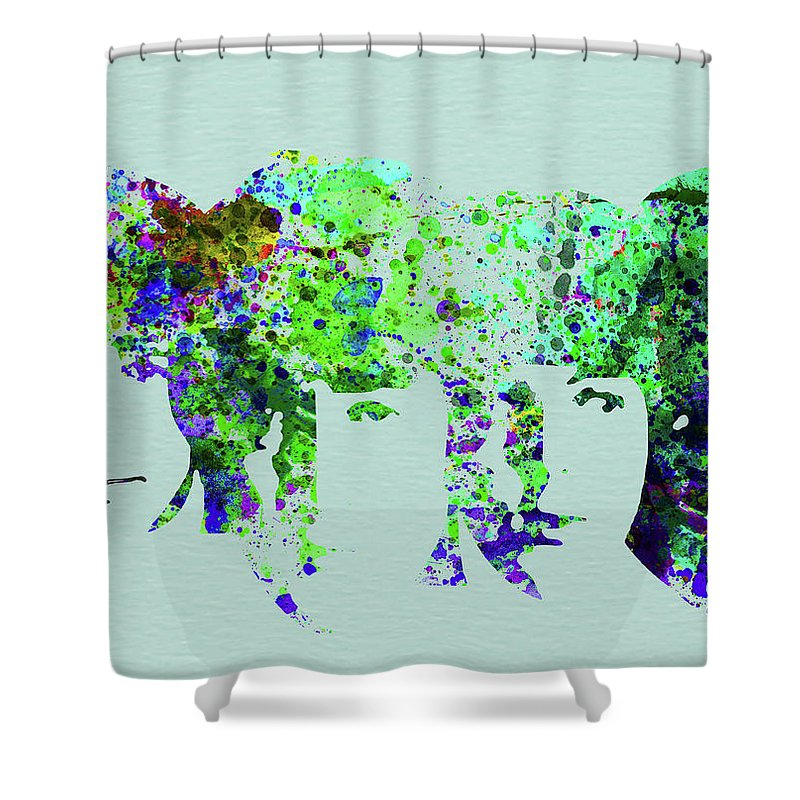 Beatles Shower Curtain featuring the mixed media Legendary Beetles Watercolor II by Naxart Studio