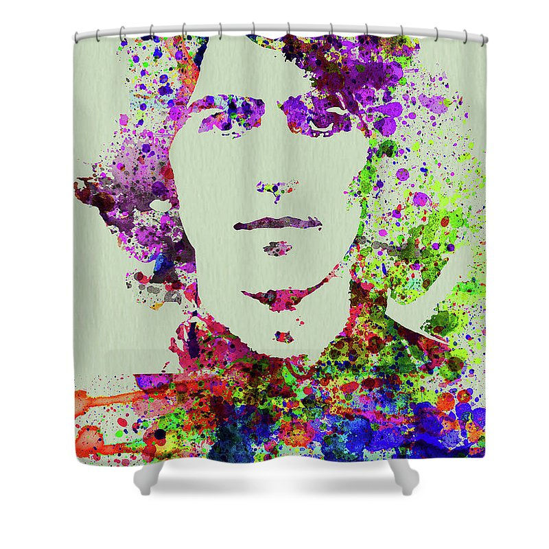 Beatles Shower Curtain featuring the mixed media Legendary George Harrison Watercolor II by Naxart Studio