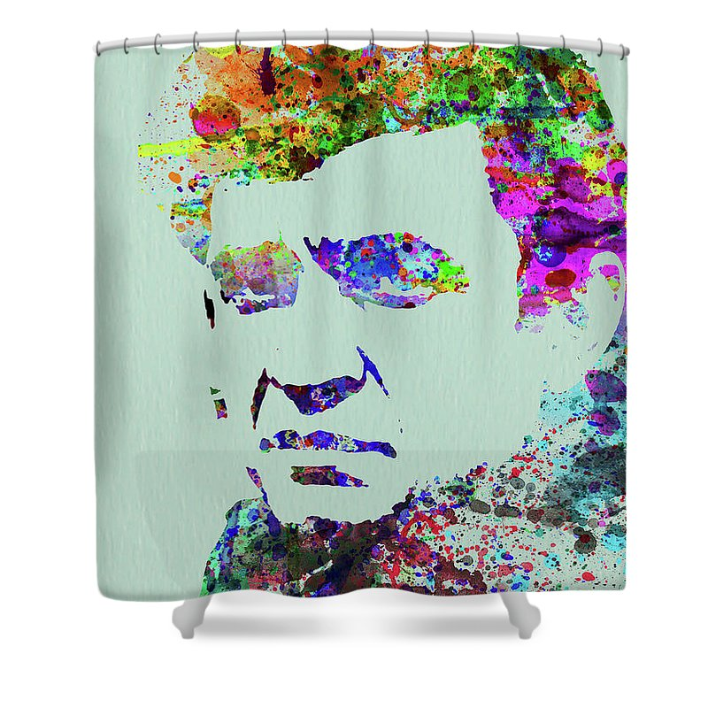Johnny Cash Shower Curtain featuring the mixed media Legendary Johnny Cash Watercolor by Naxart Studio