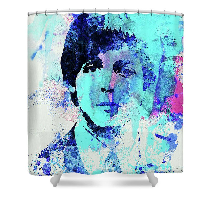 Beatles Shower Curtain featuring the mixed media Legendary Paul Watercolor by Naxart Studio