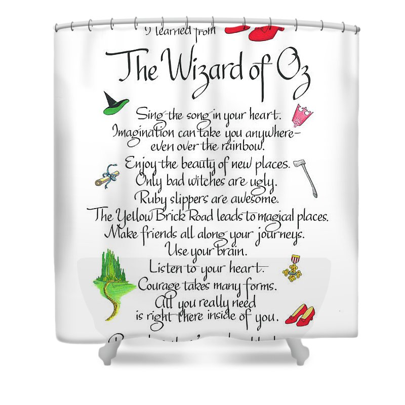 Lessons From The Wizard Of Oz Shower Curtain For Sale By Linda Harris