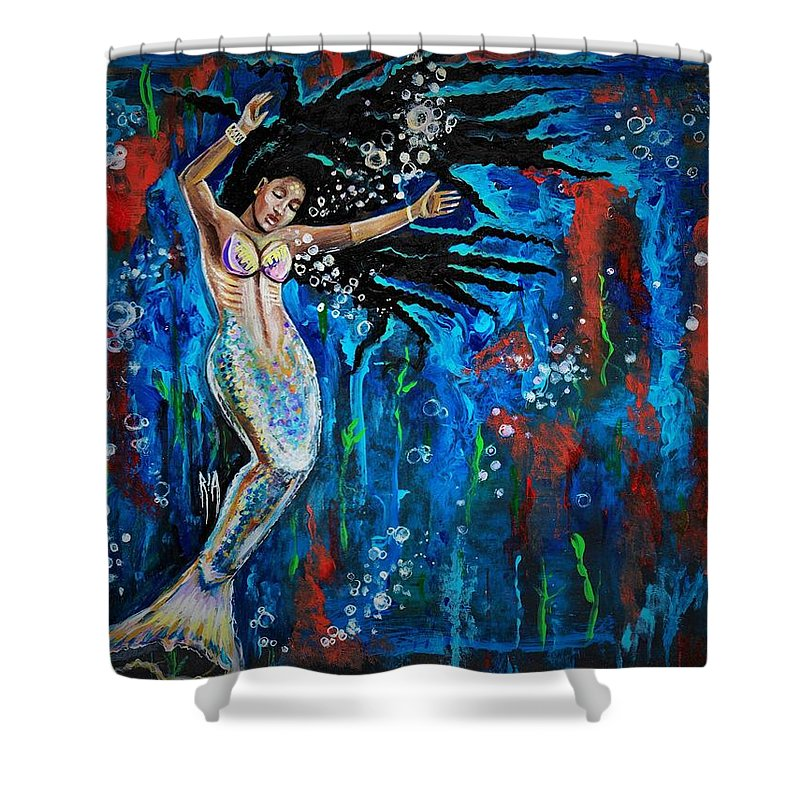 Mermaid Shower Curtain featuring the painting Lifes Strong Currents by Artist RiA