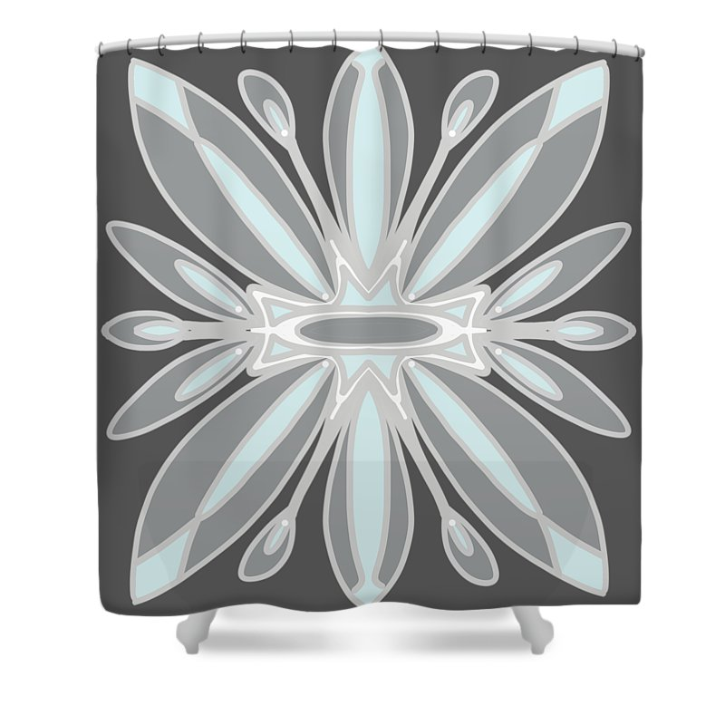 Lite Blue Gray Tile Shower Curtain featuring the digital art Light Blue Gray Tile by Priscilla Wolfe
