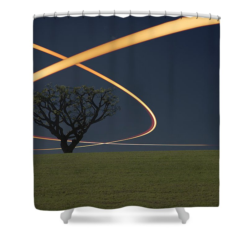 Scenics Shower Curtain featuring the photograph Light Trails Around Tree by Paul Taylor