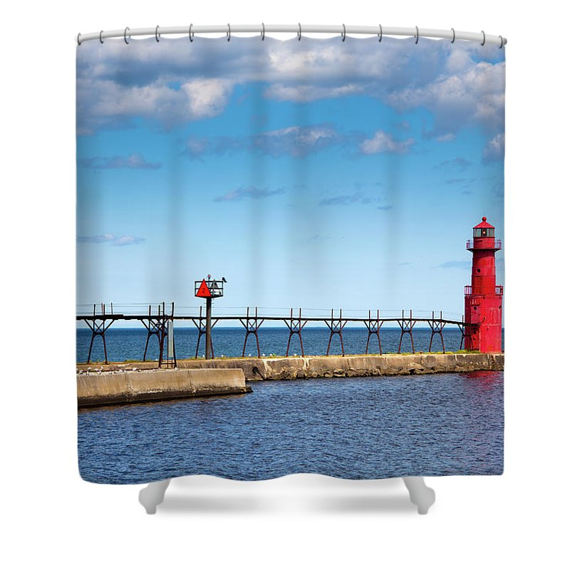 Lake Michigan Shower Curtain featuring the photograph Lighthouse And Pier On Lake Michigan by Jamesbrey