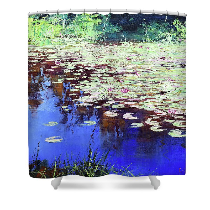 Lily Shower Curtain featuring the painting Lilies On Blue Water by Graham Gercken