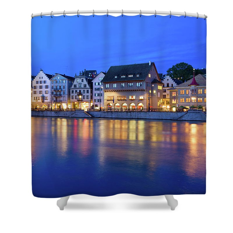 Zurich Shower Curtain featuring the photograph Limmat River Waterfront In Downtown by Benedek