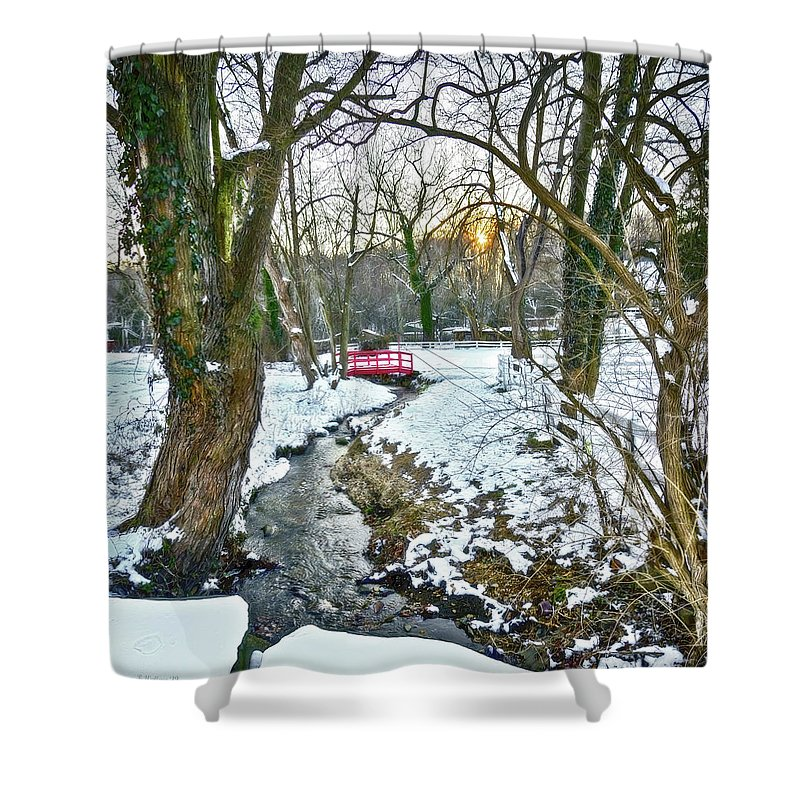 2d Shower Curtain featuring the photograph Little Red Walk Bridge by Brian Wallace