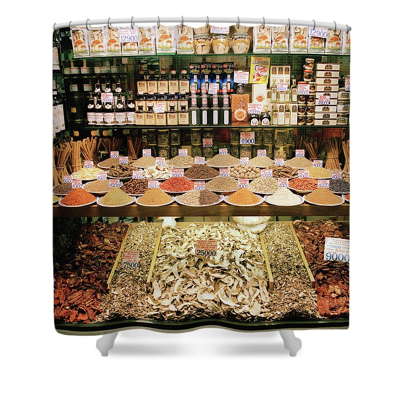 Italian Food Shower Curtain featuring the photograph Local Foods For Sale In A Store In by Cultura Exclusive/philip Lee Harvey