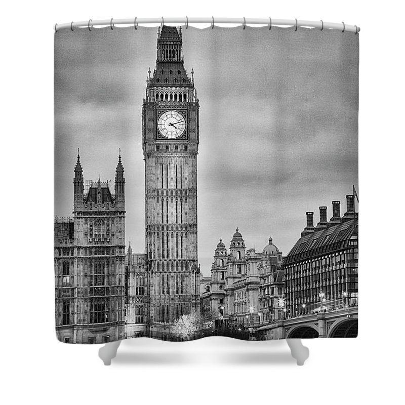 Clock Tower Shower Curtain featuring the photograph London, Big Ben, Black And White by Elisabeth Pollaert Smith