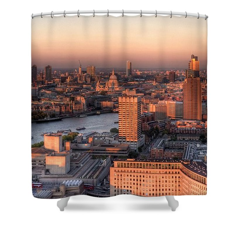 Cityscape Shower Curtain featuring the photograph London Cityscape At Sunset by Michael Lee