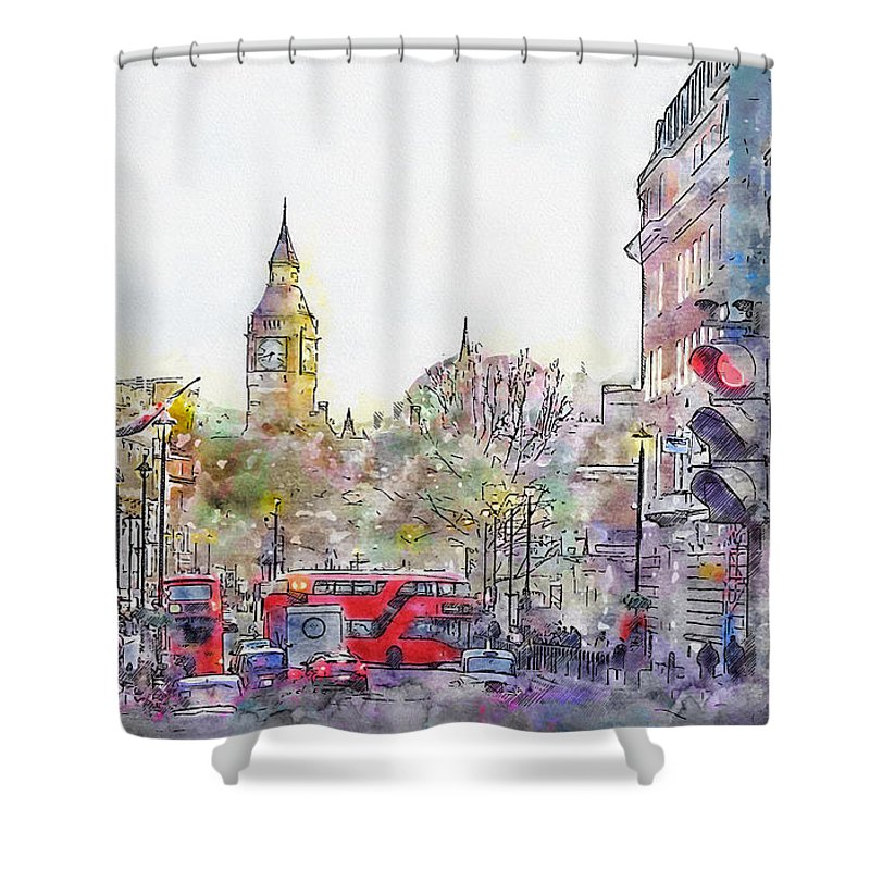 London Shower Curtain featuring the mixed media London Street 1 by Jennifer Berdy