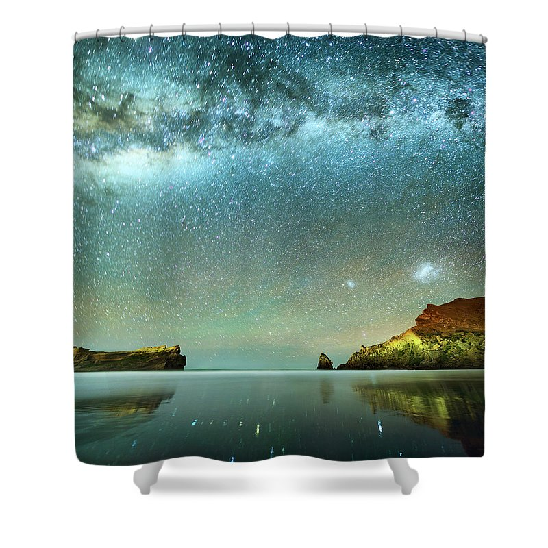 Galaxy Shower Curtain featuring the photograph Long Exposure Of Stars by Piskunov