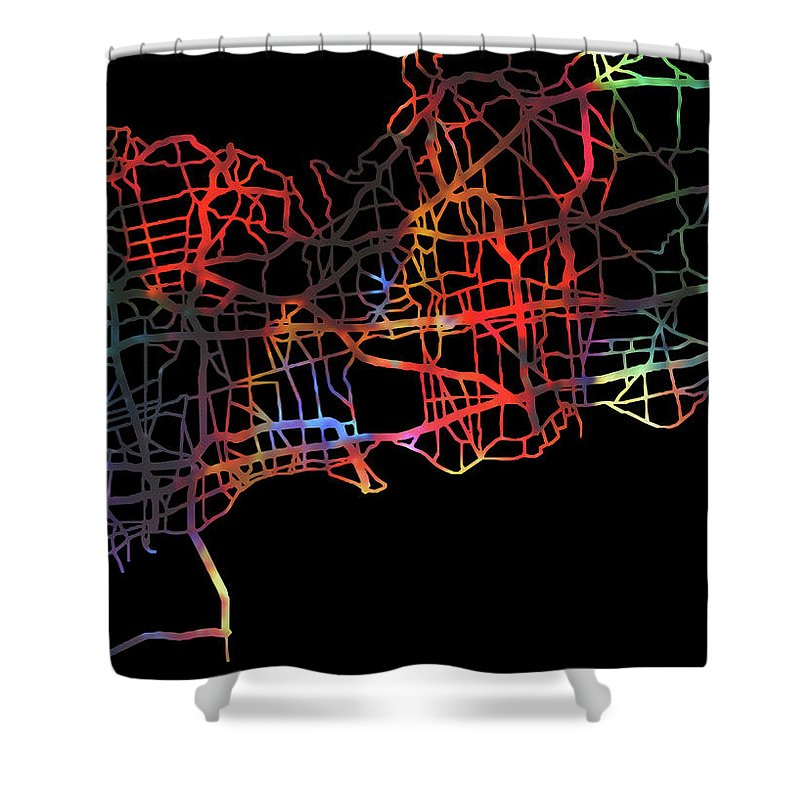Long Island Shower Curtain featuring the mixed media Long Island New York Watercolor City Street Map Dark Mode by Design Turnpike