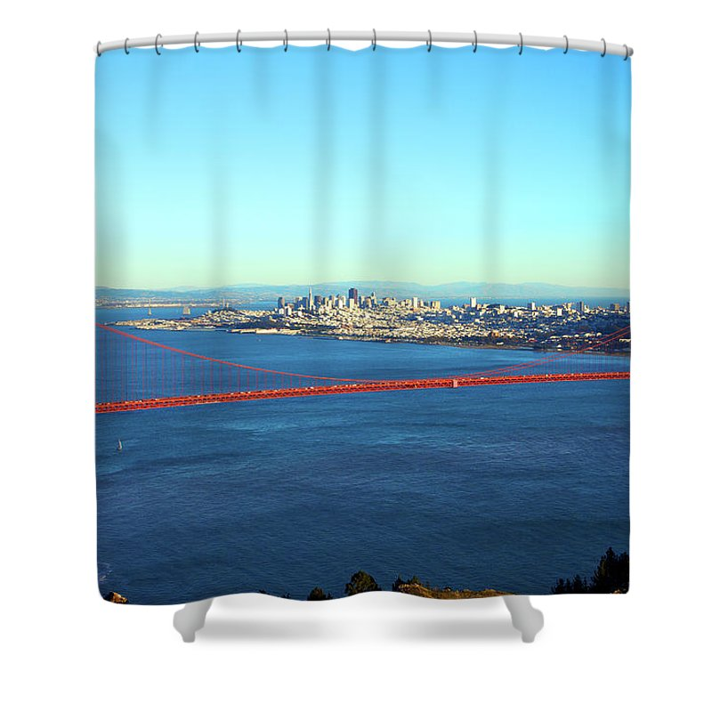 Downtown District Shower Curtain featuring the photograph Looking Down At The San Francisco Bridge by Ekash