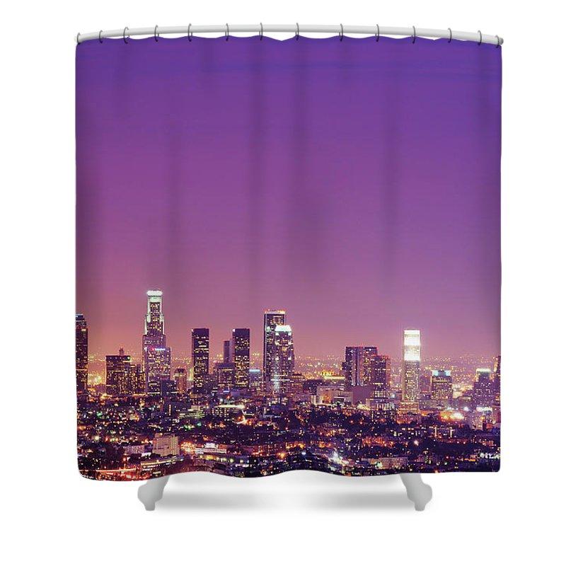 Clear Sky Shower Curtain featuring the photograph Los Angeles At Dusk by Dj Murdok Photos