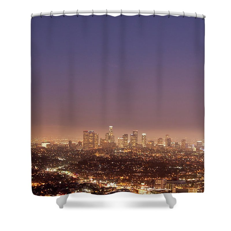 Scenics Shower Curtain featuring the photograph Los Angeles Skyline At Twilight by Uschools