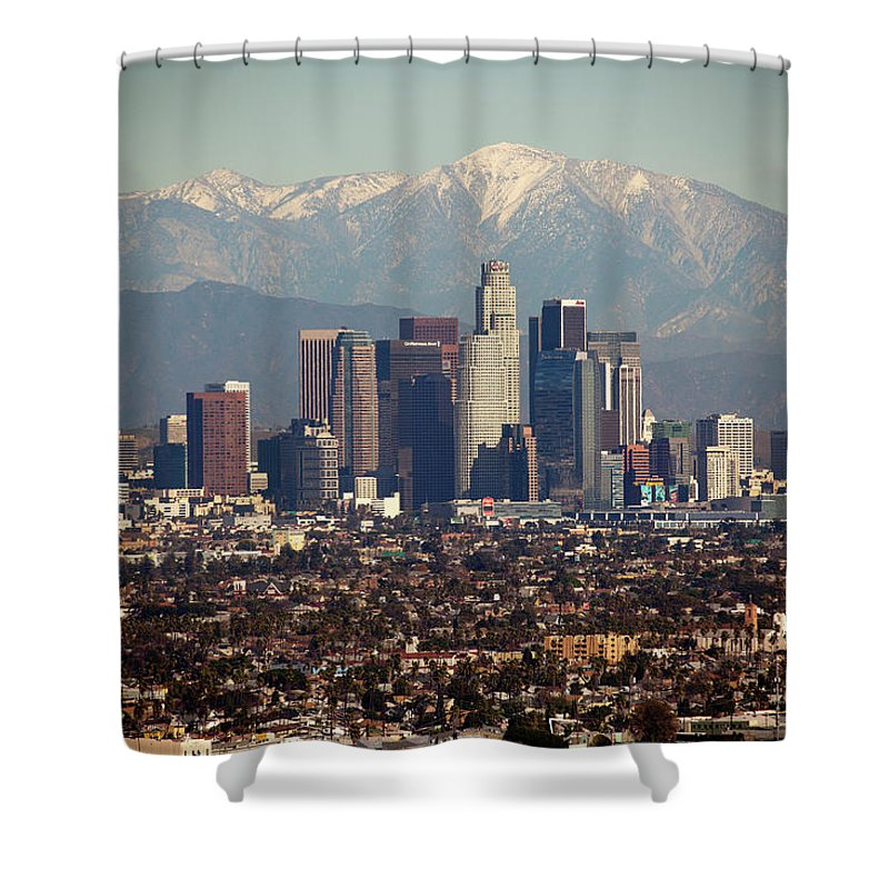 Downtown District Shower Curtain featuring the photograph Los Angeles Skyline With Snow Capped by Sterling Davis Photo