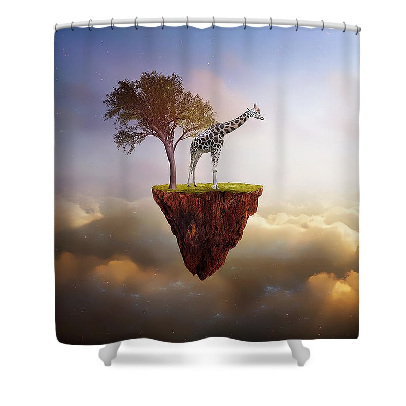 Giraffe Shower Curtain featuring the mixed media Lost Island by Marvin Blaine