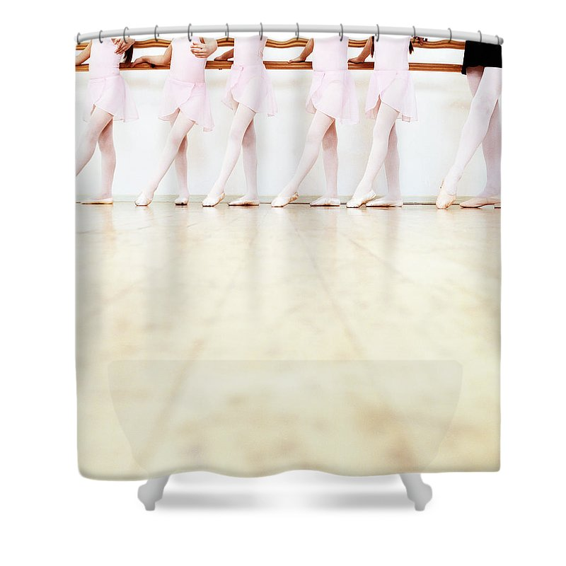 Ballet Dancer Shower Curtain featuring the photograph Low Section View Of A Line Of Young by Digital Vision.