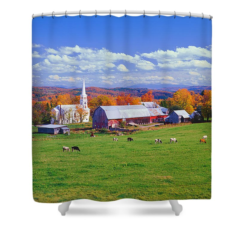 Scenics Shower Curtain featuring the photograph Lush Autumn Countryside In Vermont With by Ron thomas