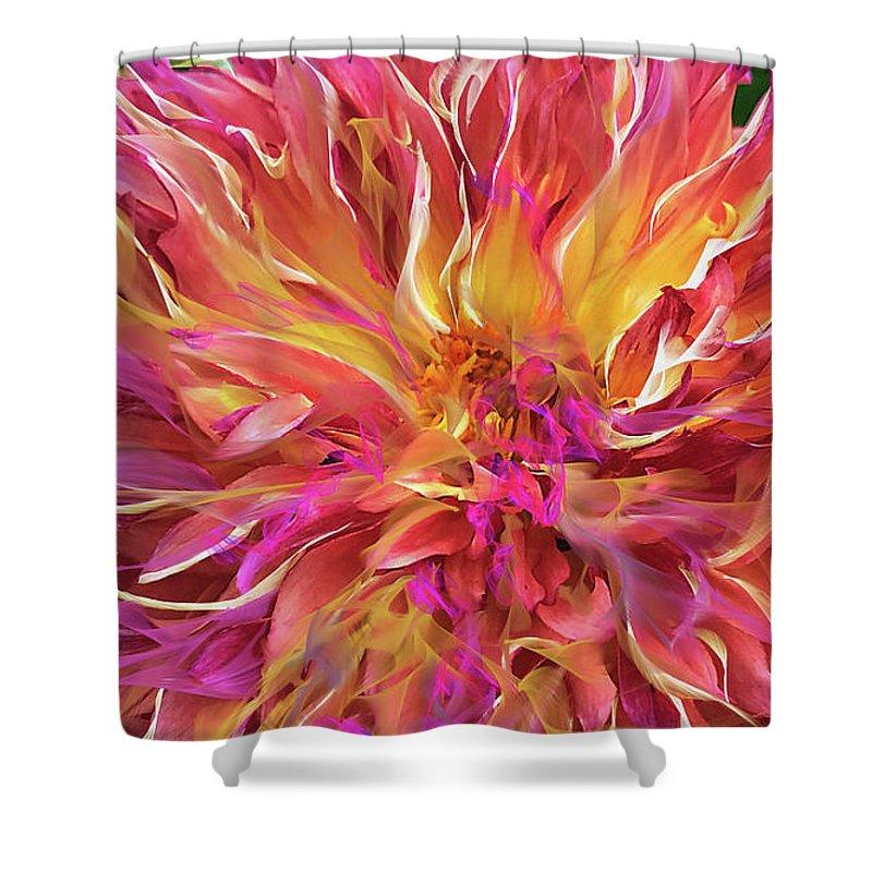 Magenta Shower Curtain featuring the digital art Magenta Sunshine by Cindy Greenstein