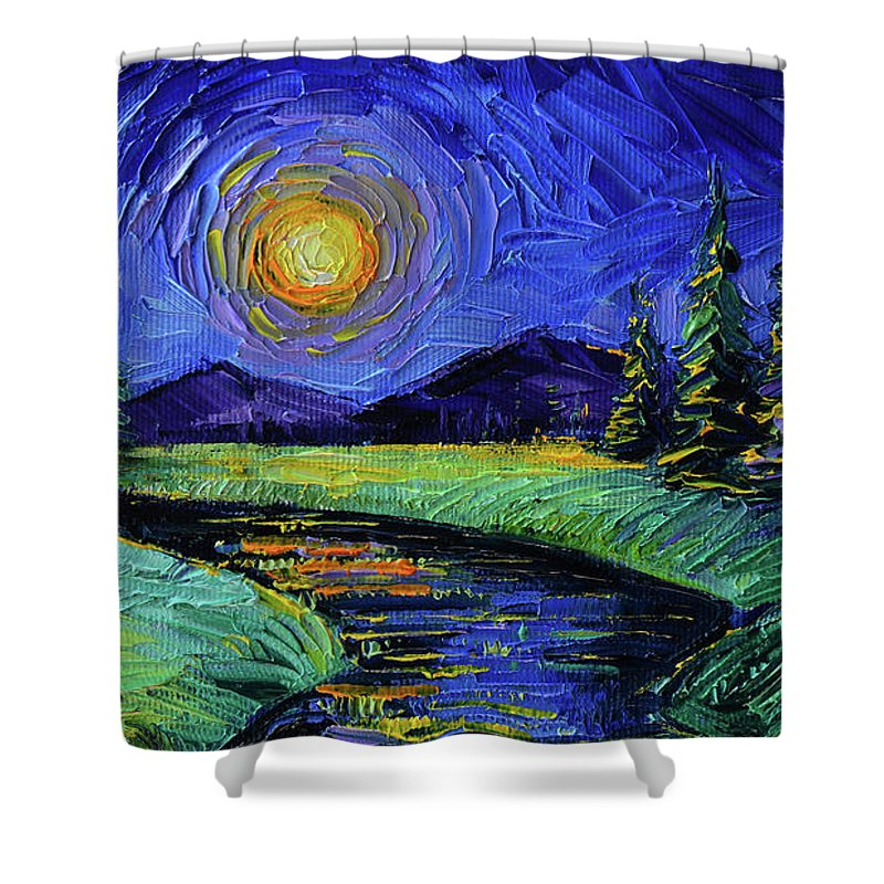Magic Night Shower Curtain featuring the painting Magic Night - Detail 1 - Fantasy Landscape by Mona Edulesco