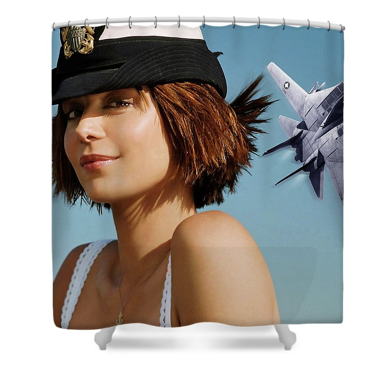 Major Sarah Mackenzie Shower Curtain featuring the photograph Major Sarah Mackenzie, Usmc, Catherine Bell, F 14 Tomcat, Jag by Thomas Pollart