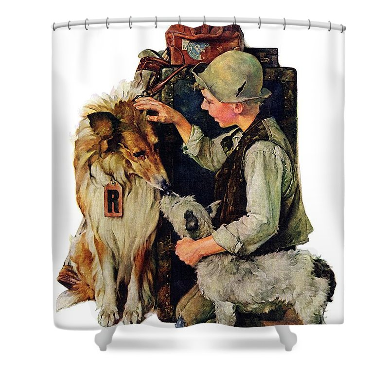 Boy Shower Curtain featuring the drawing Making Friends by Norman Rockwell
