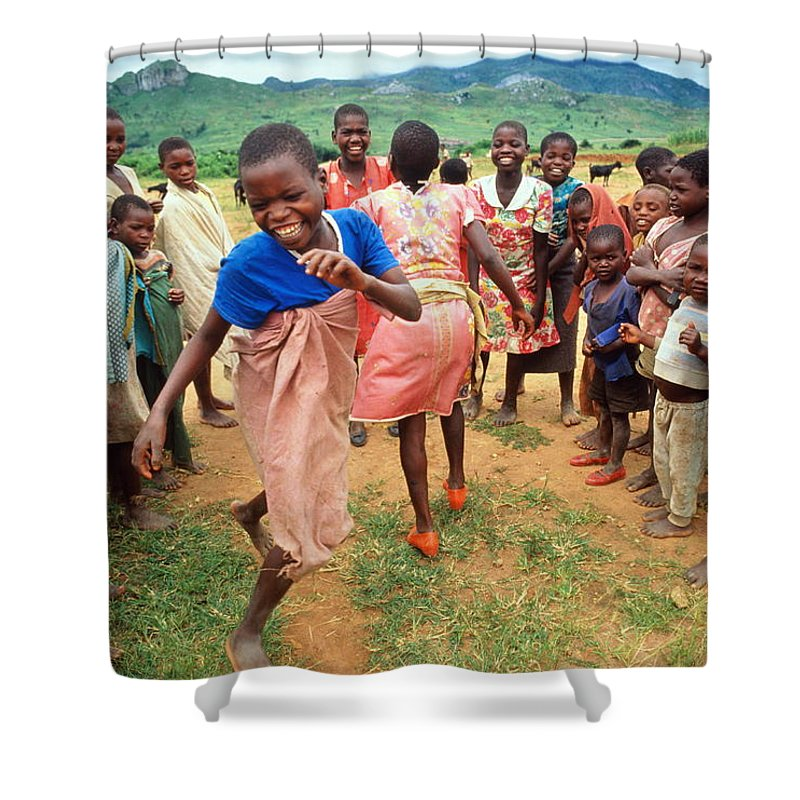 Human Settlement Shower Curtain featuring the photograph Malawi,mapira Refugee Camp,children by Penny Tweedie