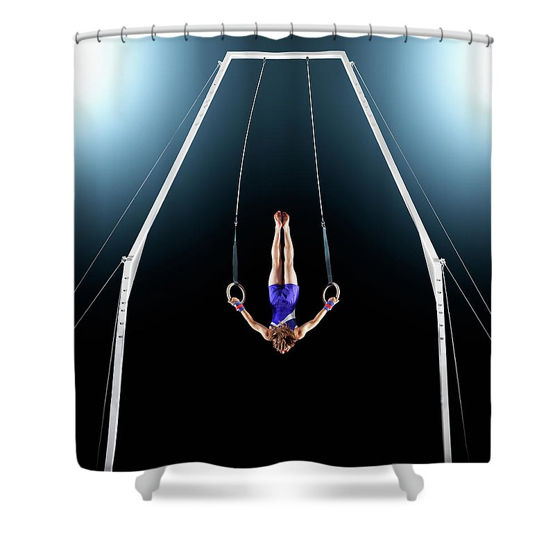 Focus Shower Curtain featuring the photograph Male Gymnast Upside Down Performing On by Robert Decelis Ltd