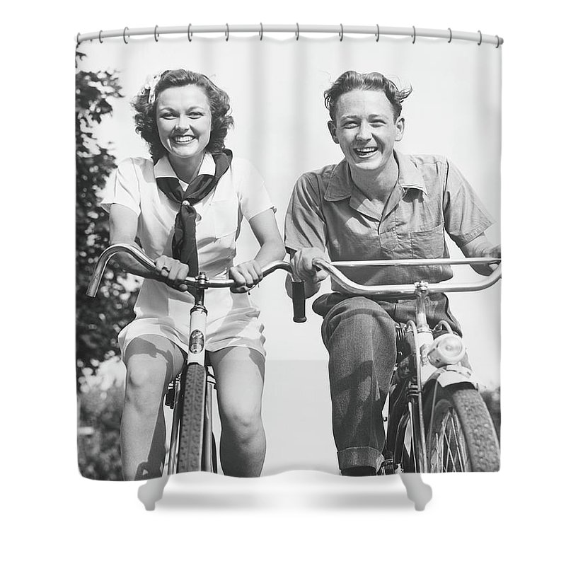 Young Men Shower Curtain featuring the photograph Man And Woman Riding Bikes, B&w, Low by George Marks