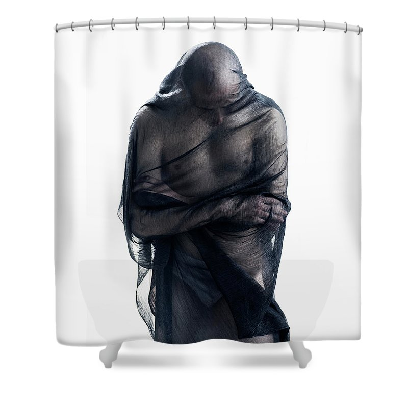 Three Quarter Length Shower Curtain featuring the photograph Man Covered In Black Material by Tara Moore