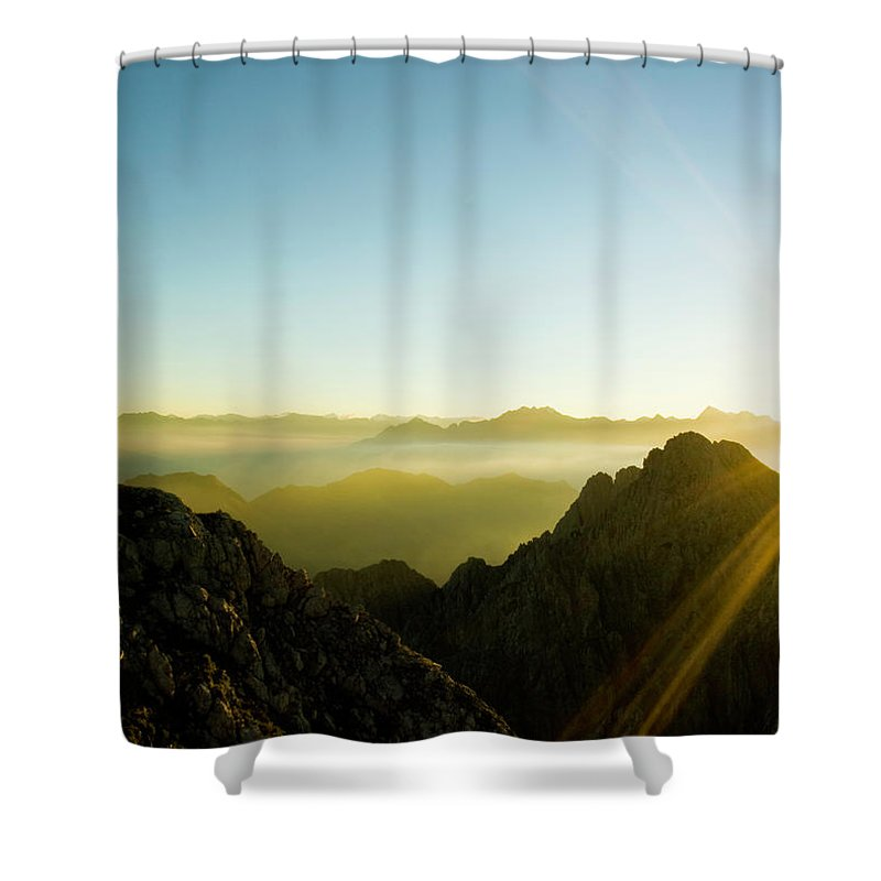 Dawn Shower Curtain featuring the photograph Man by Lopurice