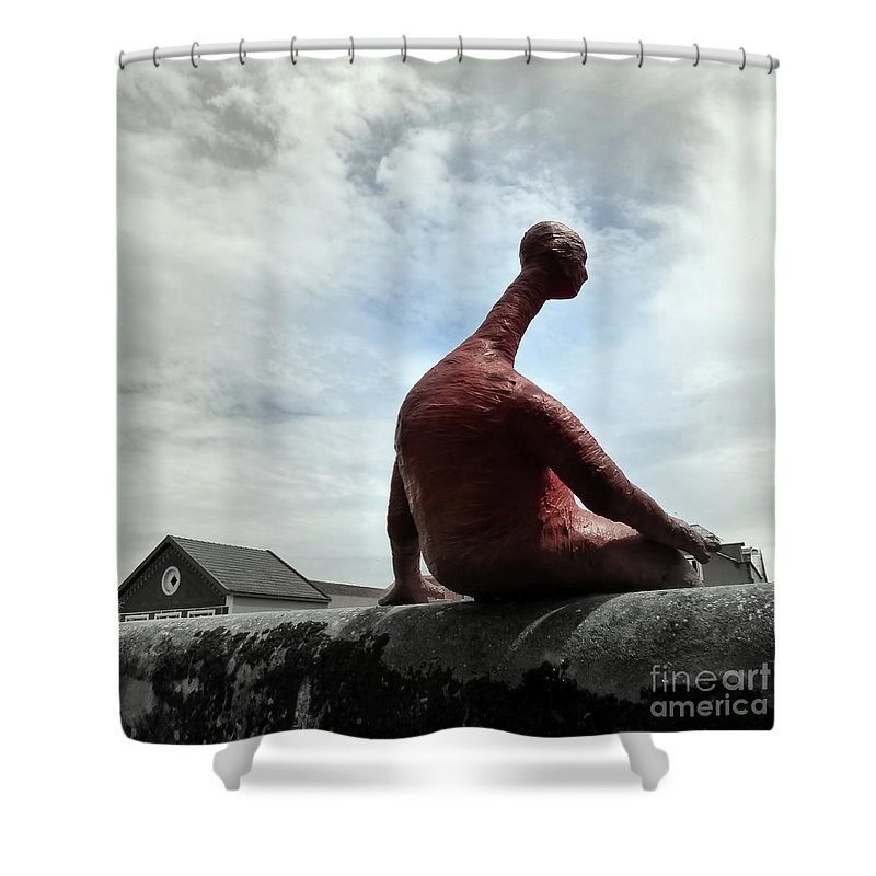 Man Shower Curtain featuring the photograph Man On The Wall by Carlos Amaro
