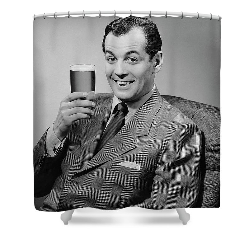Mature Adult Shower Curtain featuring the photograph Man Sitting & Having A Beer by George Marks