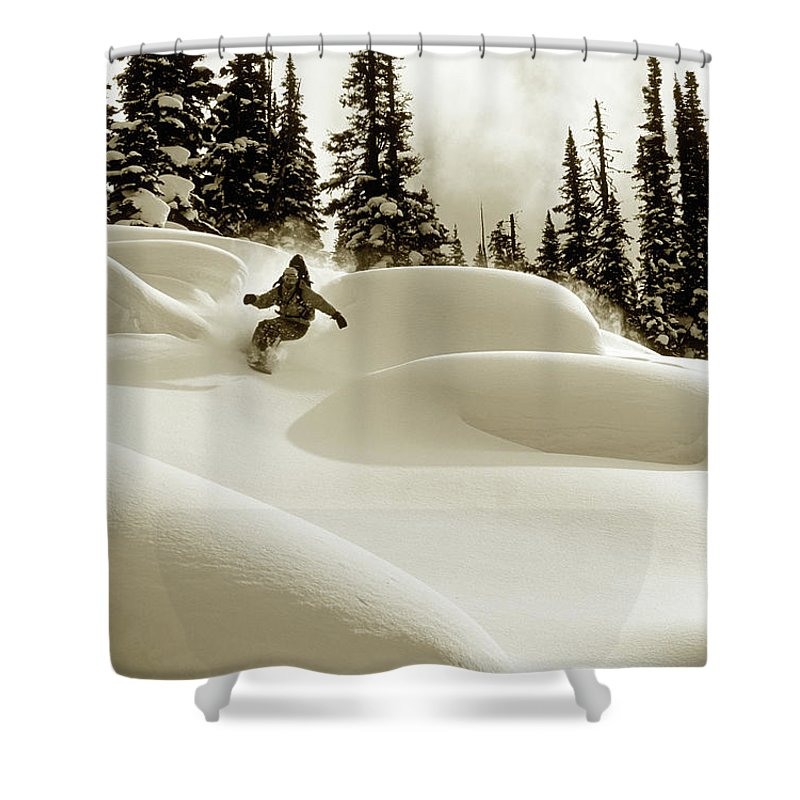 One Man Only Shower Curtain featuring the photograph Man Snowboarding B&w Sepia Tone by Per Breiehagen