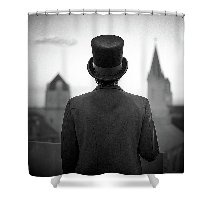 People Shower Curtain featuring the photograph Man Standing Front Of Cathedral by Eddie O'bryan